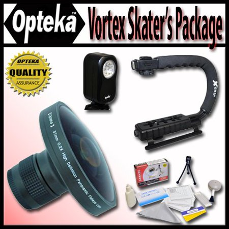 """Opteka Deluxe Vortex """"Skaters"""" Package (Includes the Opteka Platinum Series 0.2X HD Panoramic """"Vortex"""" Fisheye Lens, X-GRIP Camcorder Handle, & 3 Watt Video Light) For Sanyo VPC-FH1, FH1A and TH1"""