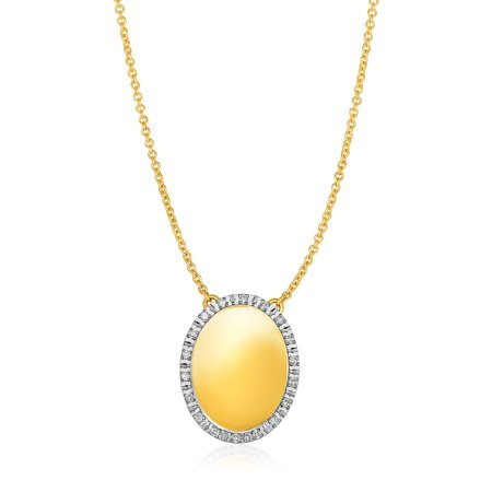 14k Yellow Gold Necklace with Oval Engraveable Diamond Pendant - image 2 of 2