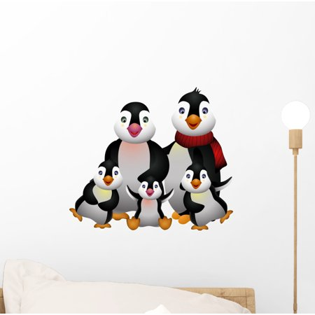 Happy Penguin (Happy Penguin Family Wall Decal by Wallmonkeys Peel and Stick Graphic (12 in W x 11 in H))