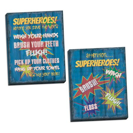 Gango Home Decor Traditional Superheroes Bath I & Superheroes Bath II by Debbie DeWitt (Ready to Hang); Two 12x16in Hand-Stretched Canvases
