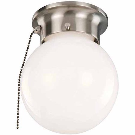 Design House 519272 1-Light Ceiling Mount Globe Light with Pull Chain, Satin Nickel Finish