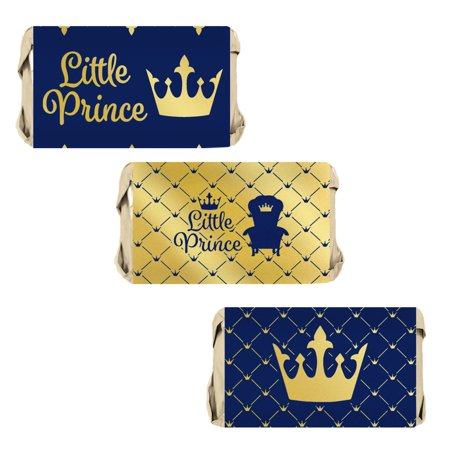 Gold Foil Prince Baby Shower Candy Labels 54ct - Royal Blue Little Prince Baby Shower Decorations for Boy - 54 Count Candy Wrapper Stickers