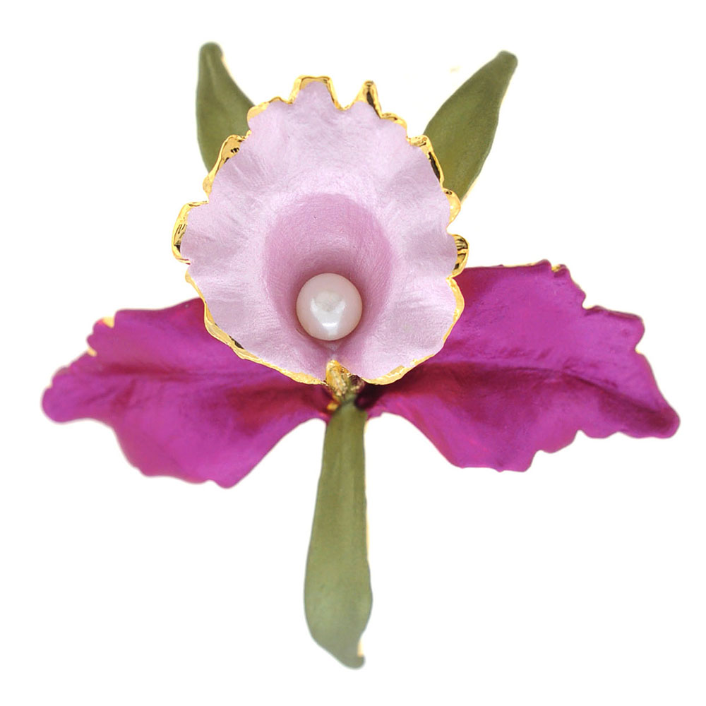 Purple Pink Orchid Flower Brooch Pin by