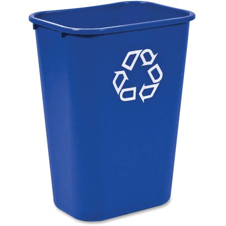 Rubbermaid Commercial Products FG295773BLUE Deskside Recycling Container, 10 Gallon/41 QT, - Paper Recycling Bin