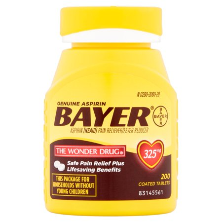 Genuine Bayer Aspirin Coated Tablets  325 Mg  200 Ct