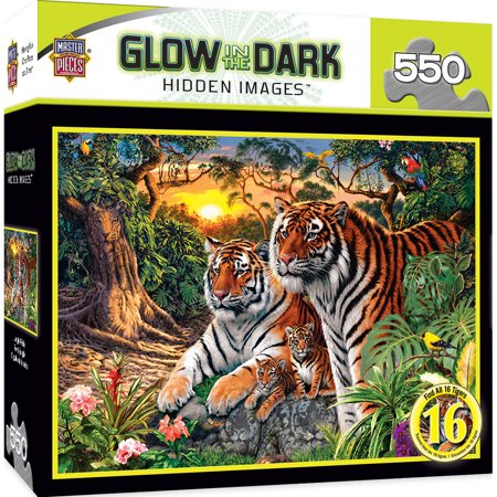 Lsu Tigers Puzzle (MasterPieces Hidden Images Glow in the Dark Jungle Pride - Bengal Tigers 550 Piece Jigsaw Puzzle by Steve Read )