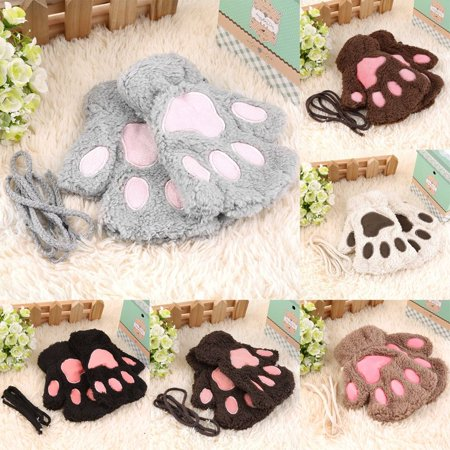 Sofe Women Winter Claw Gloves Fluffy Bear Paw Mittens Lady Half Finger Gloves - image 6 of 16