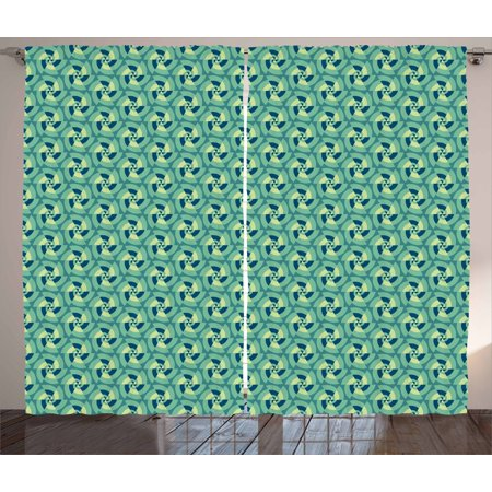 Geometric Curtains 2 Panels Set, Retro Revival with Optical Illusion Elements Circles Repeating Motifs, Window Drapes for Living Room Bedroom, 108W X 96L Inches, Sea Green Dark Blue, by Ambesonne