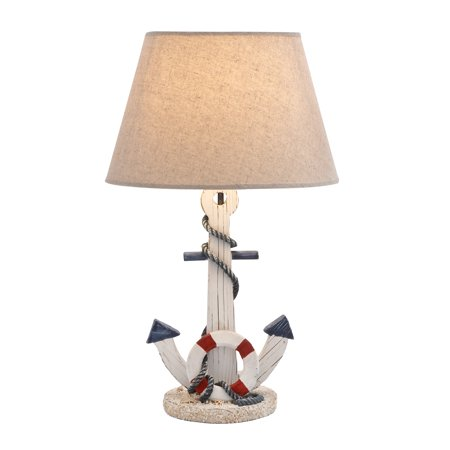 Anchors Away Lamp (Wooden Anchor Table Lamp With An On/Off Switch In White)