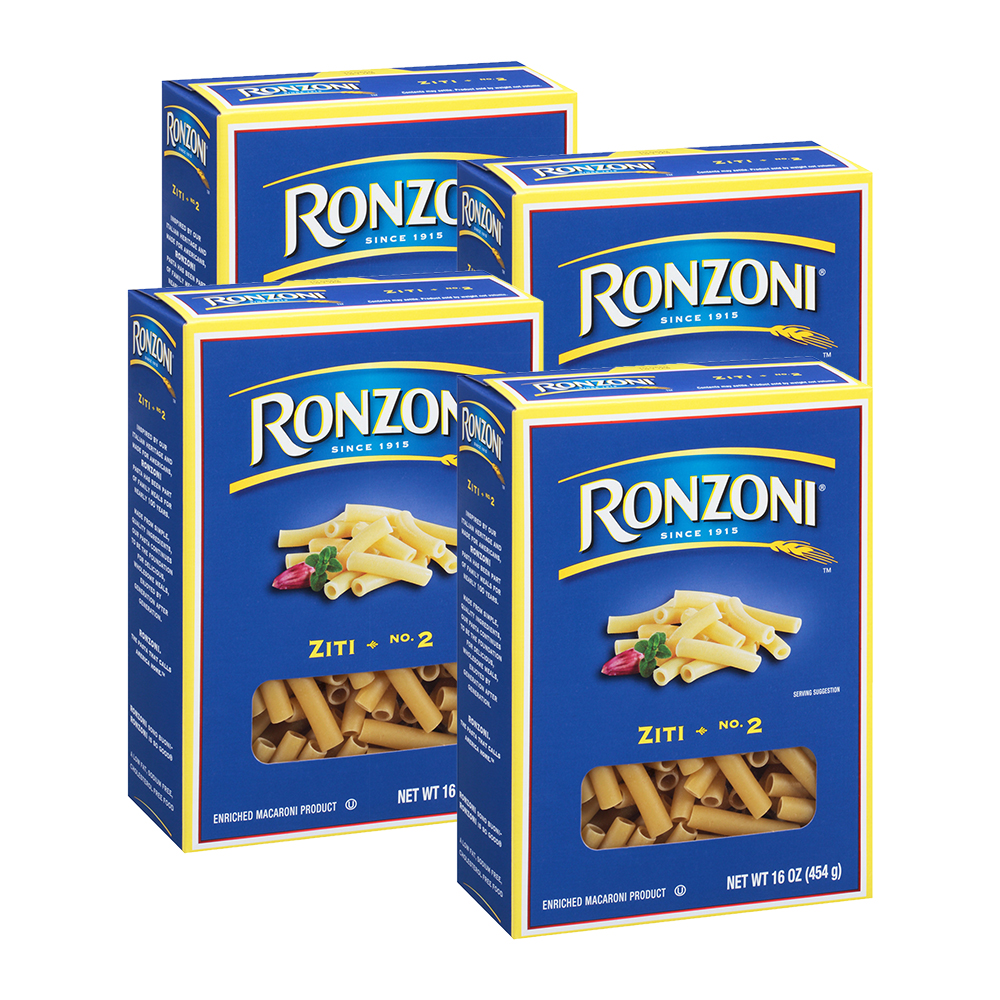 Ronzoni Ziti No.2 Enriched Macaroni Pasta 16 oz (4 Packs)