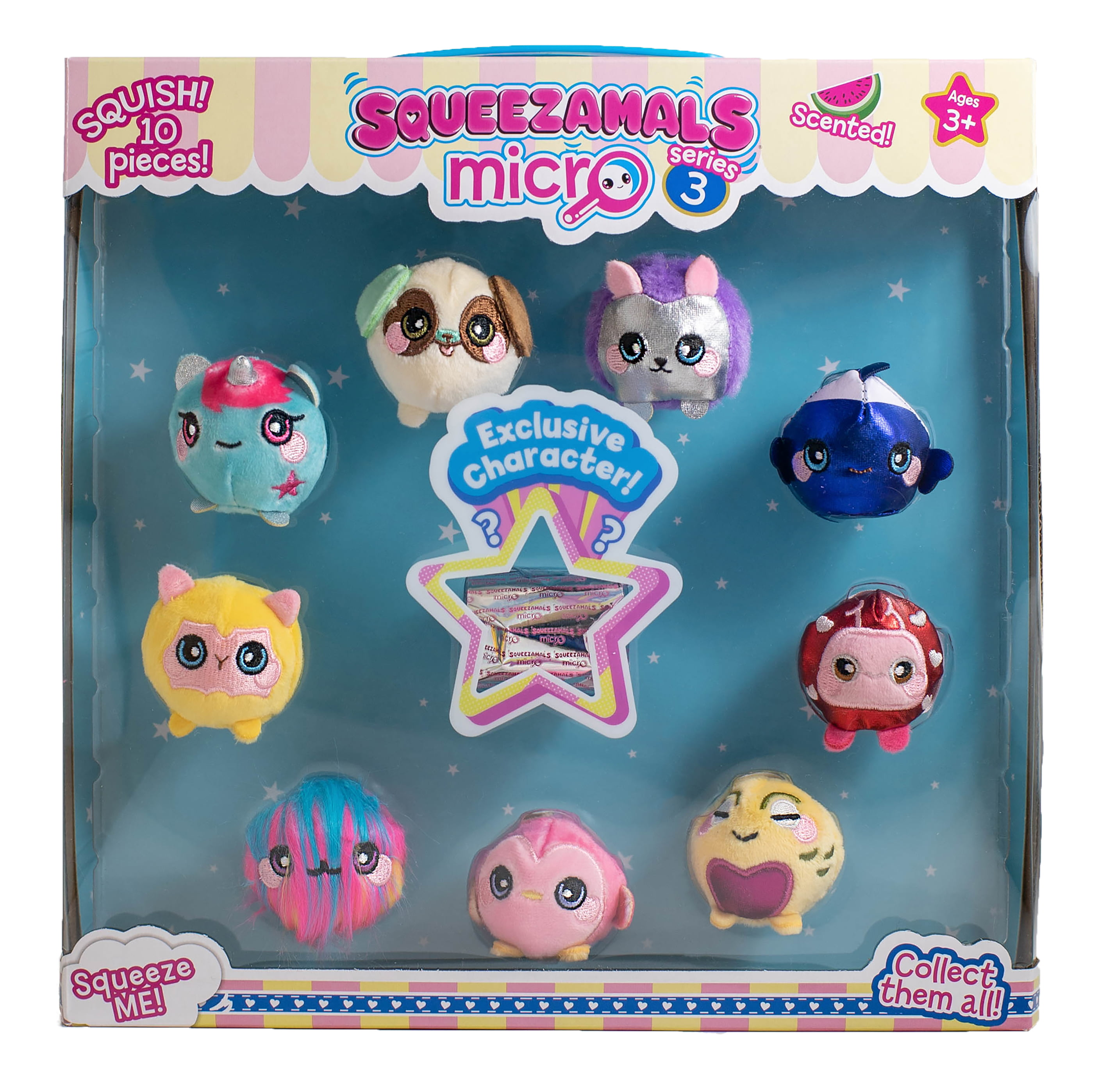 Squeezamals, Micro Series 3 10-Pack, Collectible Animals Scented Soft Cute Slow Rise with Mystery Included (Styles/Assortments Vary)