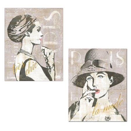 Trendy black taupe and gold vintage paris fashion week prints by sue schlabach two