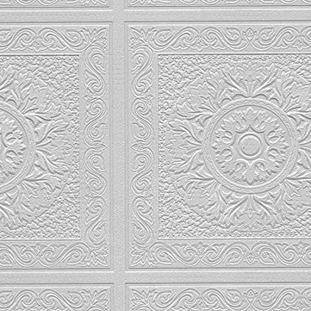 Paintable Wallpaper Renaissance Ceiling Tile Raised White Textured 48931 Paintable Wallpaper By Norwall