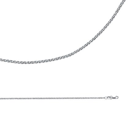 - Solid 14k White Gold Necklace Wheat Chain Flat Open Link Polished Cable Fancy Thin, 1.5 mm - 16,18,20,22,24 inch