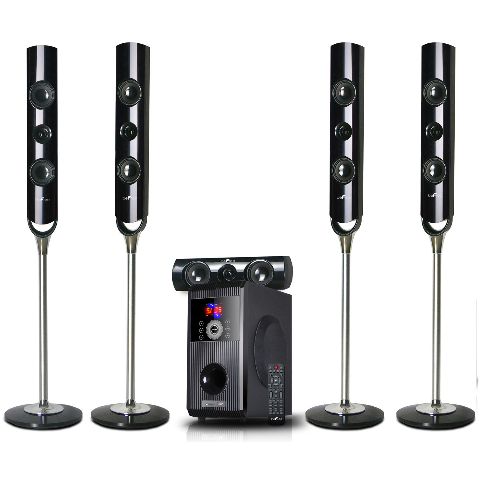beFree Sound 91592800M 5.1-Channel Bluetooth Speaker System Black