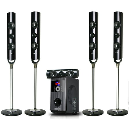 beFree Sound BFS-900 5.1 Channel Stand Surround Sound Bluetooth Speaker System in Black ()
