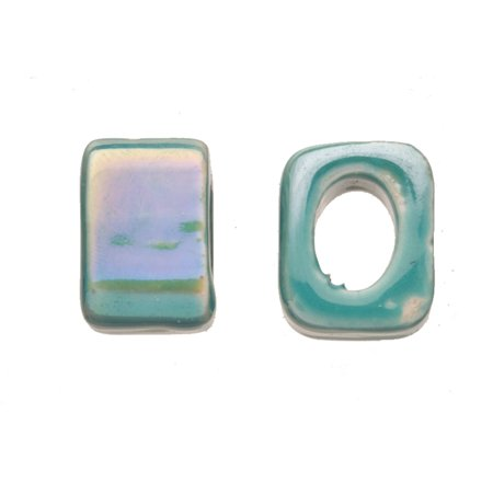 15pcs Spectrum Teal Porcelain Slider Beads For Licorice Leather - Cube Style Glaze Finish 15x12mm