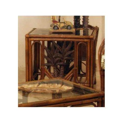 Cancun Palm Rattan & Wicker End Table & Glass