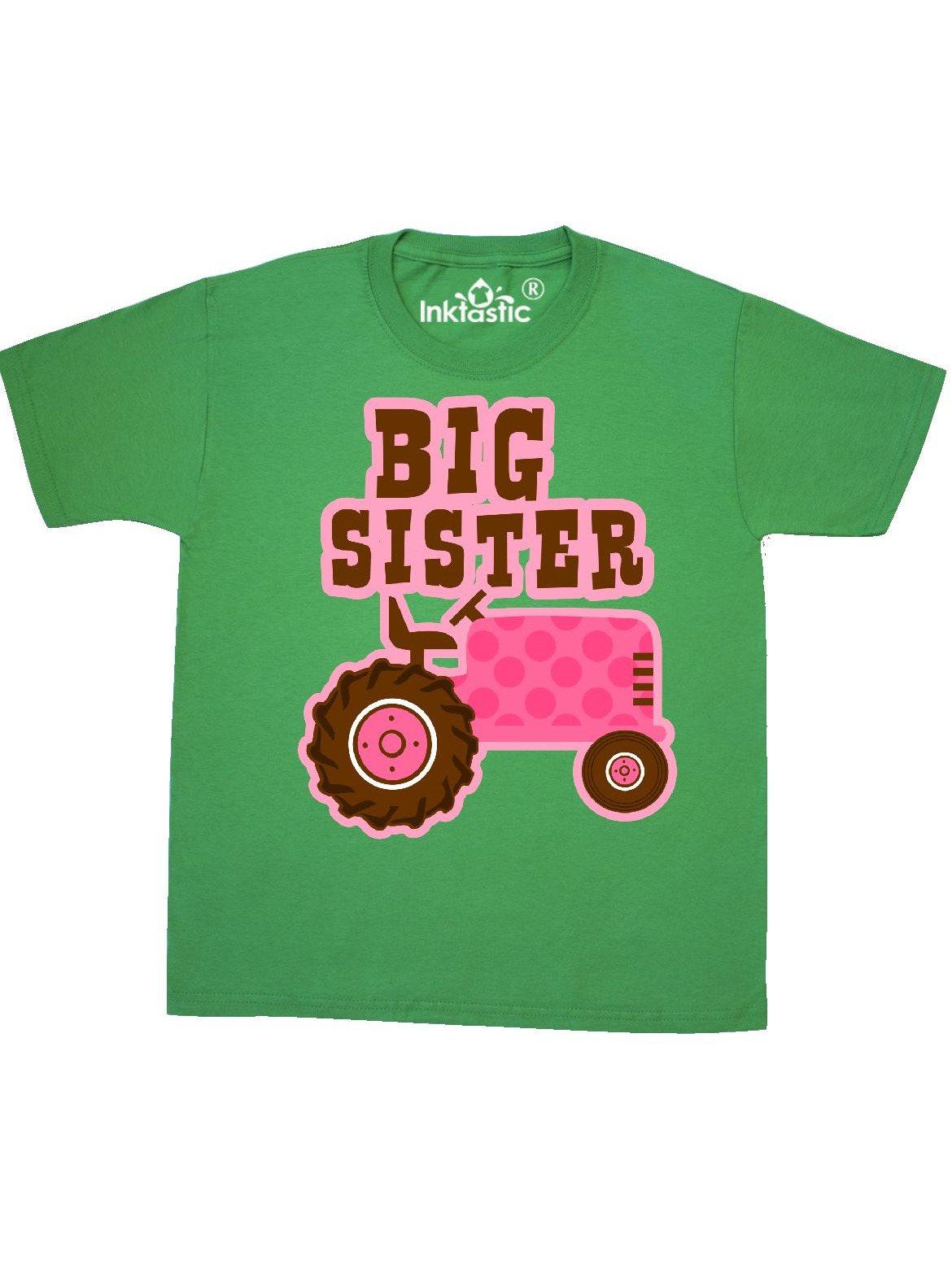 Pink Tractor Big Sister Youth T-Shirt