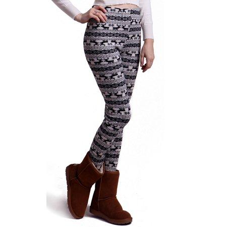 b0de7224cde adidas - HDE Women Winter Knit Leggings Fleece Line Nordic Design Thermal  Insulated Pants (White Black Reindeer and Snowflakes, Medium) - Walmart.com