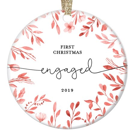 Our First Christmas Engaged Keepsake 2019 Ornament 1st Xmas Together Couple Partner Fiance Best Friend Present Simple Script Watercolor Leaves Farmhouse Glazed Ceramic 3