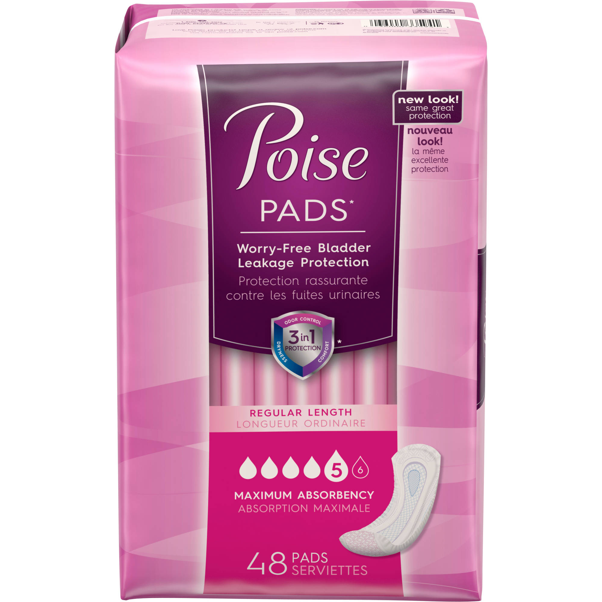 Poise Incontinence Pads, 48 count