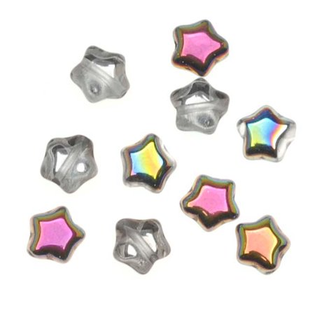 Czech Glass Beads Crystal Vitrail Tiny Stars 6mm (25) (Tiny Trade Beads)