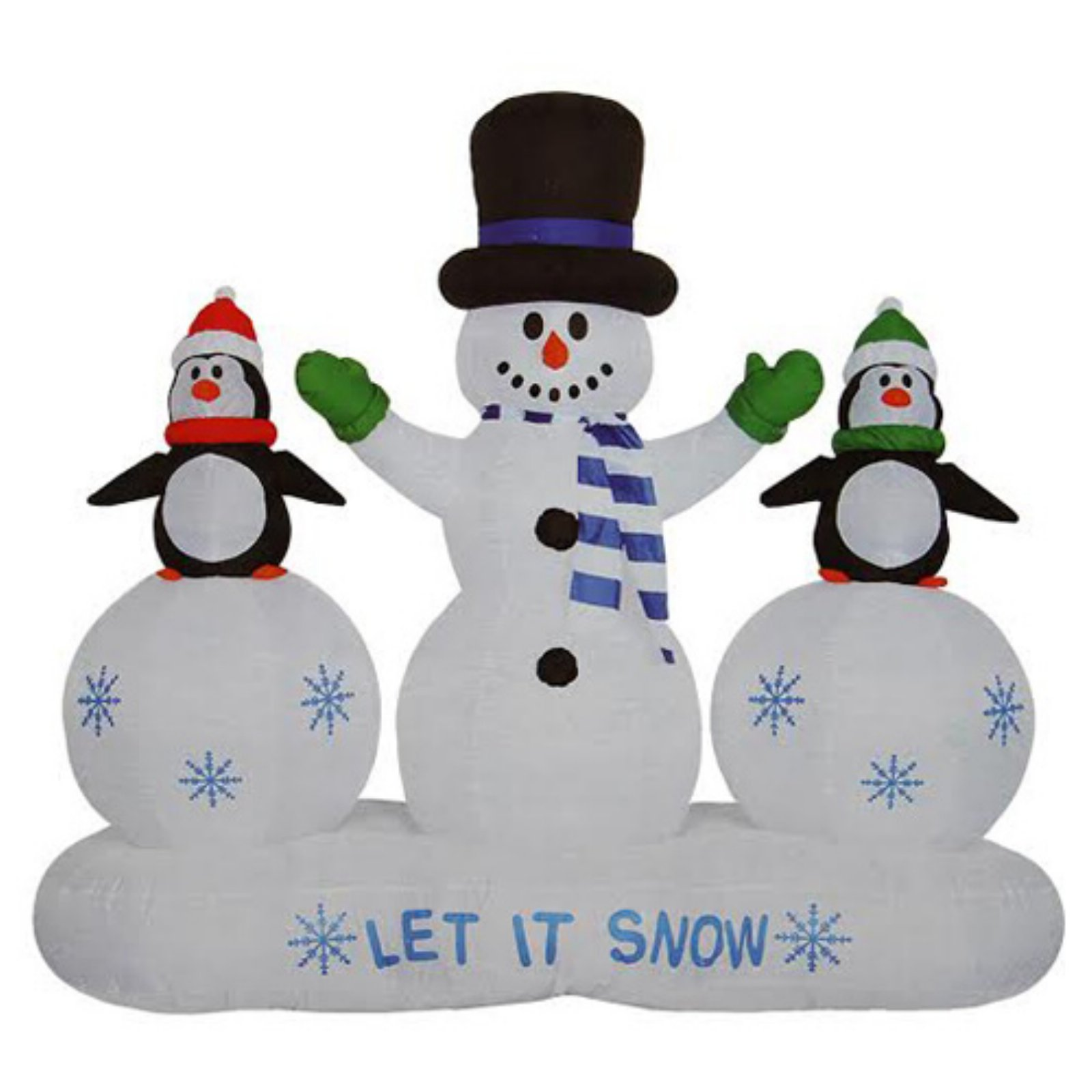 CC Inflatables 6.5 ft. Inflatable Snowman and Penguins Light Show Christmas Yard Decoration