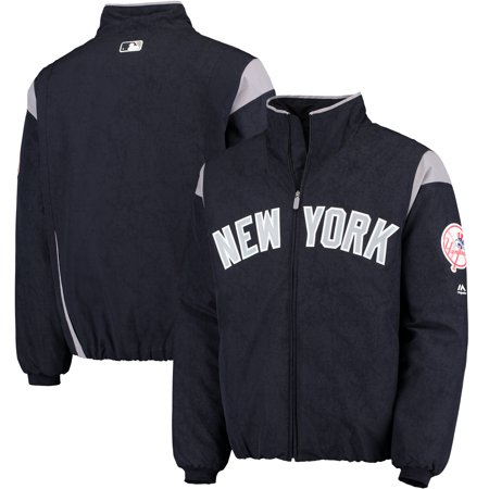 New York Yankees Majestic On-Field Therma Base Thermal Full-Zip Jacket - Navy/Gray