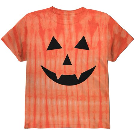 Halloween Jack-O-Lantern Fangs Face Tie Dye Youth T-Shirt (Cat Faces For Halloween Easy)