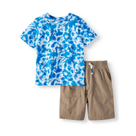 All Outfits (Toddler Boys' Tie Dye T-Shirt and Canvas Utility Shorts, 2-Piece Outfit)