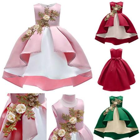 Lovely Baby Girls Summer Dresses Bridesmaid Flower Party Formal Sleeveless Dress Girls One Piece Princess Skirts (Full Skirt Flower Girl Dresses)