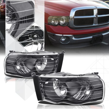 Black Housing Headlight Clear Signal Reflector For 02 05 Dodge Ram 1500 2500 03 04