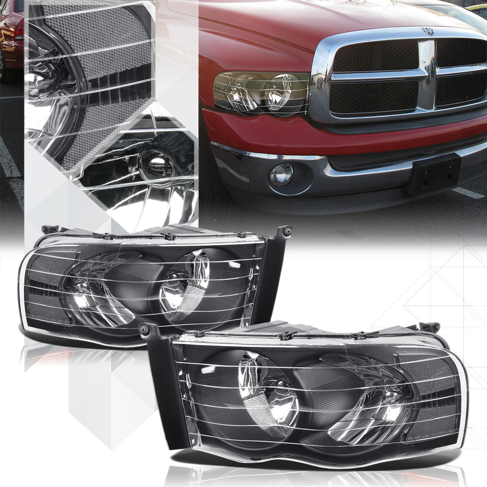 Black Housing Headlight Clear Signal Reflector for 02-05 Dodge Ram 1500/2500