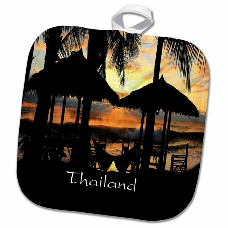 3dRose Image of Tiki Huts Palms And Sunset In Thailand - Pot Holder, 8 by 8-inch 10 Tiki Hut