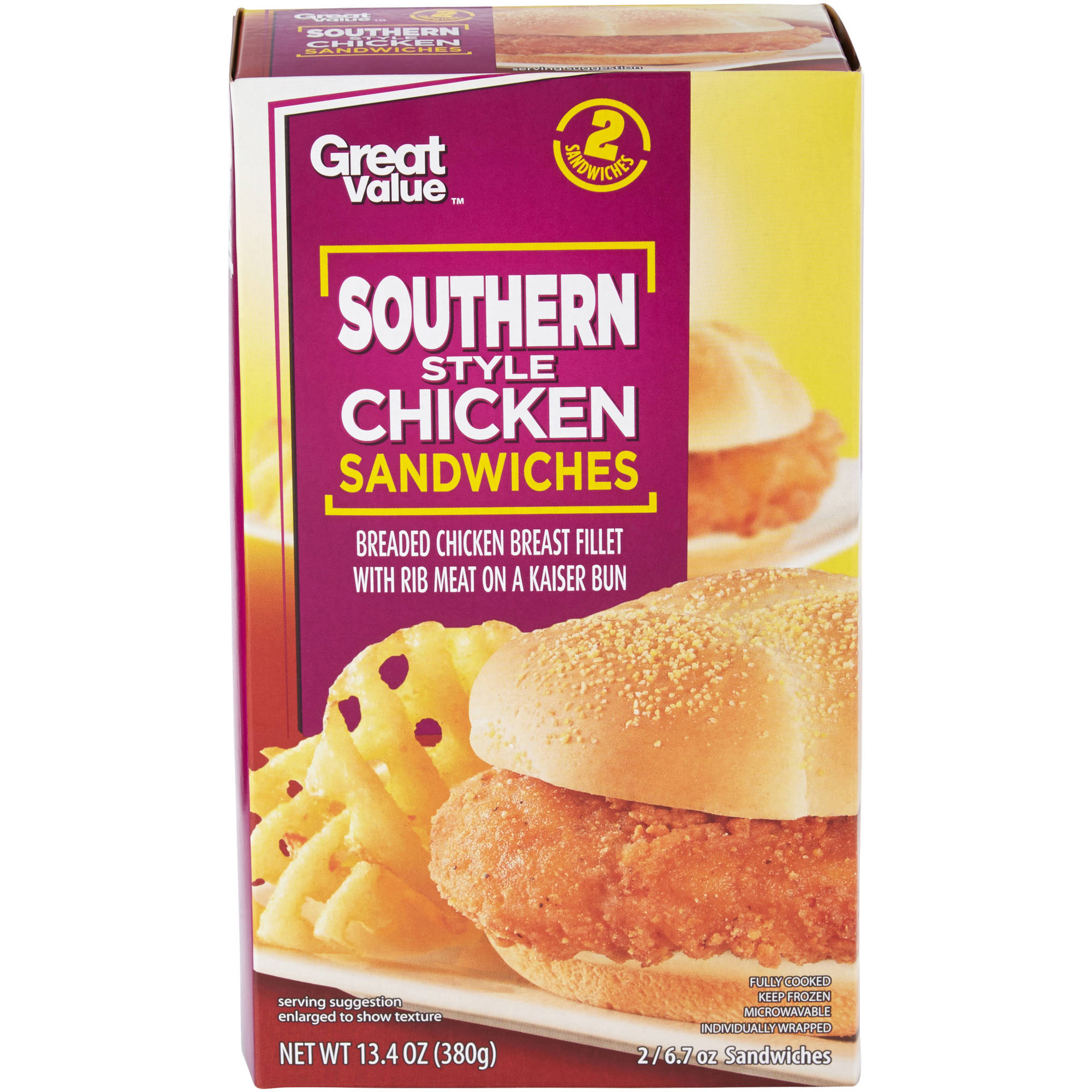 Great Value Southern Style Chicken Sandwiches, 2ct