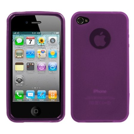 - Insten Semi Transparent Purple Candy Skin Case Cover Rubberized For Apple iPhone 4 4S