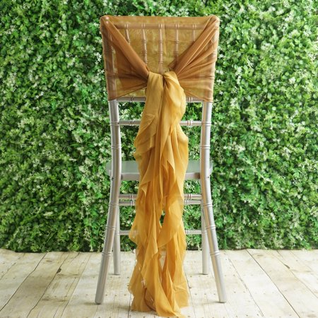 Efavormart 1 Set Premium Designer Curly Willow Chiffon Chair Sashes For Home Wedding Birthday Party Dance Banquet Decoration