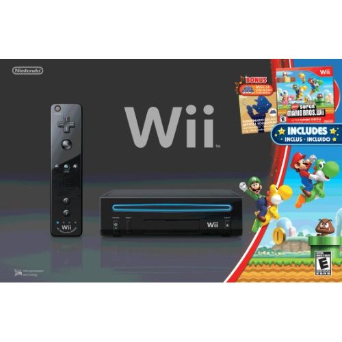 Refurbished Wii Black Console With New Super Mario Brothers Wii And Music CD
