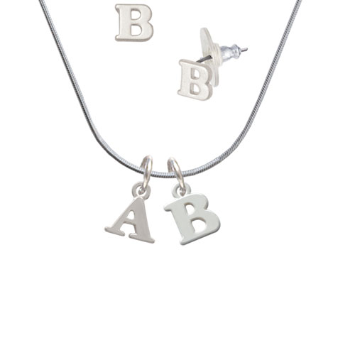 Small Initial - A - - B Initial Charm Necklace and Stud Earrings Jewelry Set