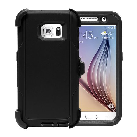 Galaxy S6 Case, [Full body] [Heavy Duty Protection] Shock Reduction Case with Plastic Built-in Screen Protector and Belt clip for Samsung Galaxy S6
