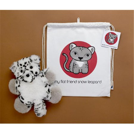 Flat Friends SLEOLD Snow Leopard Lambskin Soft Toy & Drawstring