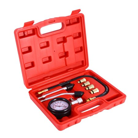 Moksha Petrol Engine Compression Tester Test Gauge Kit Car Motorcycle Garage Tools+Case