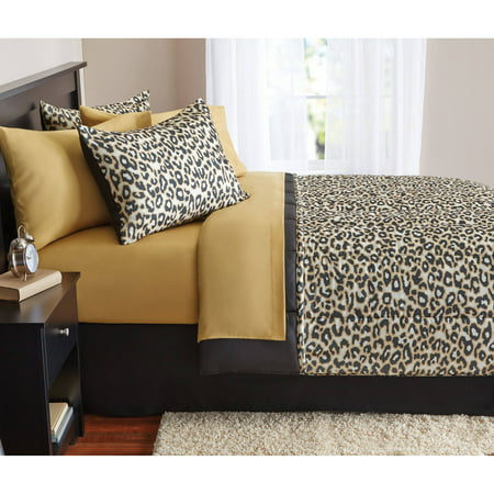 Cheetah Print Comforter - Mainstays Complete Animal Bed in a Bag Bedding