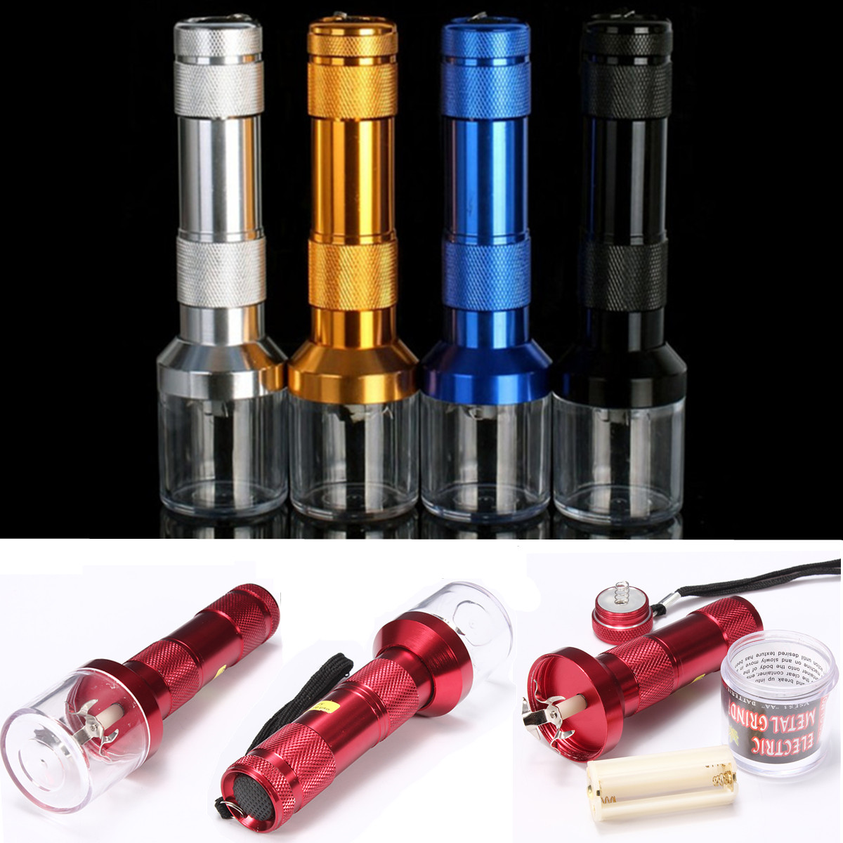 Aluminum Electric Metal Cigar Grinder Crusher Sharp Spining Herb Herbal Cigar Spice Smoke Muller 145x40mm ,e‡'... by
