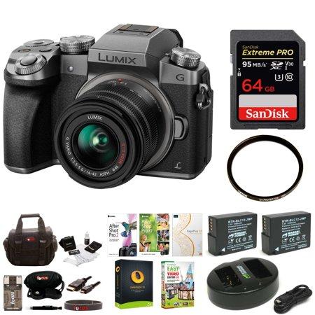 Panasonic LUMIX G7 Mirrorless Camera with 14-42mm Lens & 64GB SD Bundle (Silver)