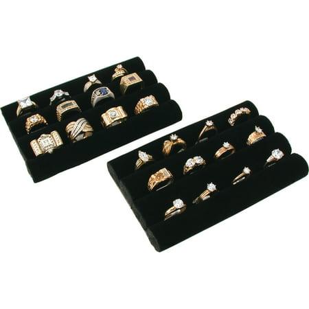 2 Black Velvet Ring Trays Jewelry Pad Showcase Displays 5.5