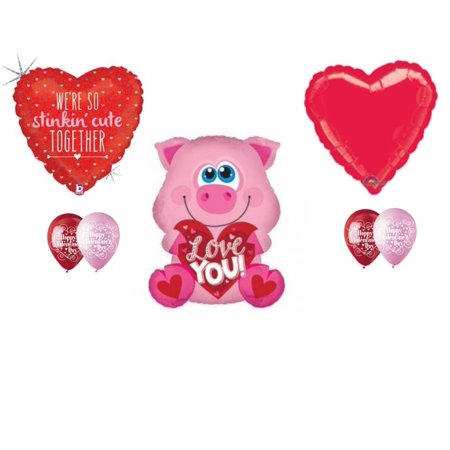Pig Stinking Cute Valentine's Day Balloon Bouquet Party Balloons Decoration](Vintage Valentine Decorations)