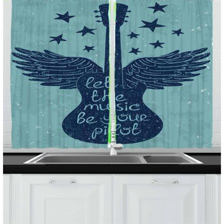 Music Curtains 2 Panels Set, Guitar Silhouette with Wings Stars and a Quote Retro Grunge Look, Window Drapes for Living Room Bedroom, 55W X 39L Inches, Pale Slate Blue and Navy Blue, by (Guitar 2 Cd Set)