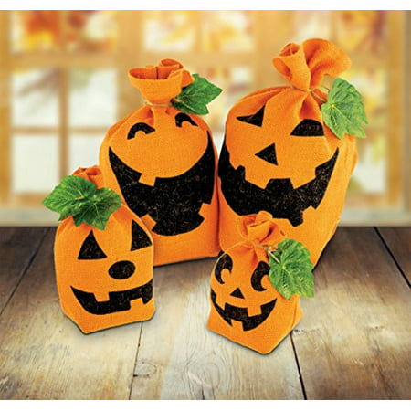KOVOT Halloween Pumpkin Burlap Sack Decorative Set - Includes (4) Different Style Pumpkin Sack Of Various Sizes - Fall & Thanksgiving Decor For Your Home